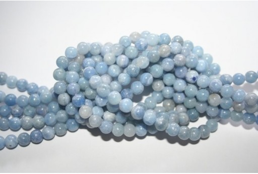 Rhodochrosite Light Blue Round Beads 6mm - 5pcs