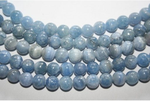 Rhodochrosite Light Blue Round Beads 8mm - 3pcs