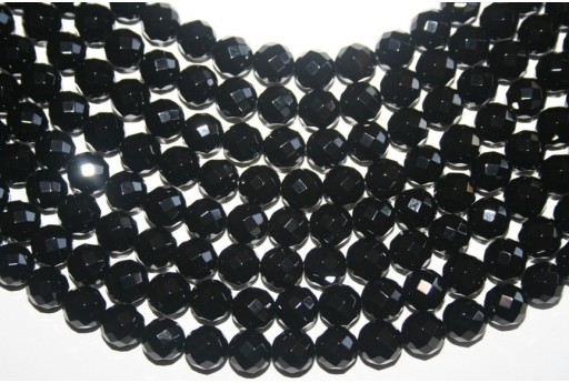 Black Onyx Faceted Round Bead Strand 10mm - 38pcs