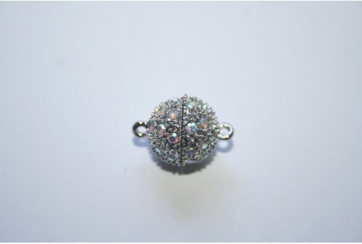 Silver Plated Magnetic Oval Clasp with AB Strass 20X14mm MIN93D