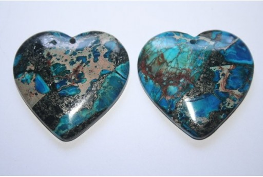Pendant Gemstone Jasper Blue Heart 30x30mm - 1pz