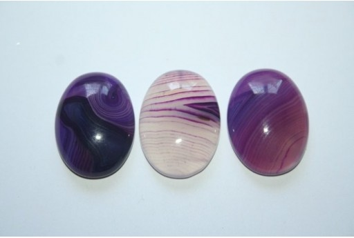 Cabochon Agate Veined Purple Oval 18x25mm - 1pz