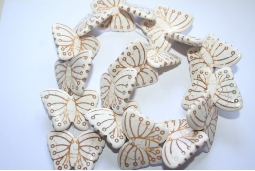 Cream Turquoise Butterfly Beads 29x38mm - 2pcs