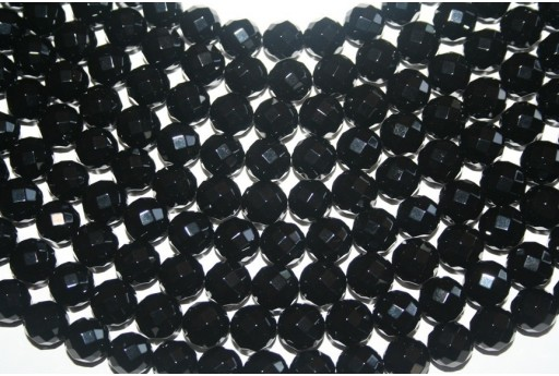Black Onyx Round Faceted Beads 12mm - 3pcs
