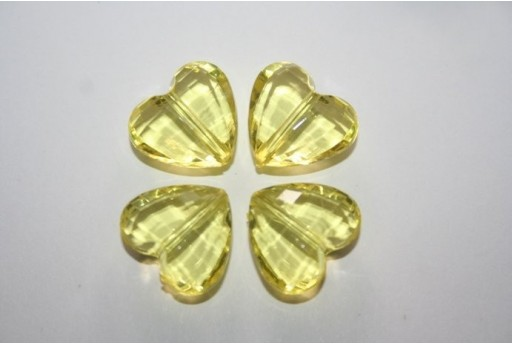 Perline Acrilico Trasparente Giallo Cuore 18x16mm - 12pz