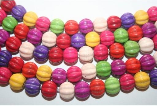 Filo 40 Pietre Turchese Multicolor Sfera 12mm TUR18