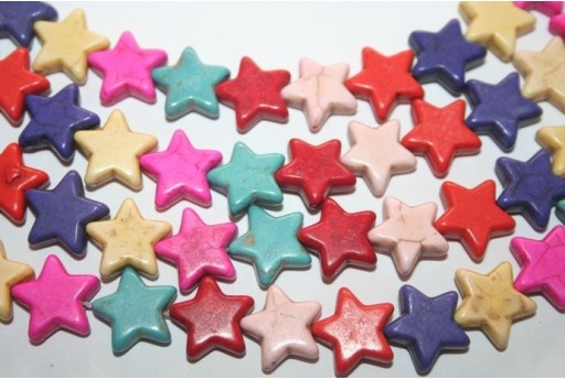 Multicolour Turquoise Star Bead Strand 15mm 32pcs TUR20
