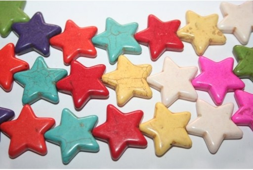 Multicolour Turquoise Star Bead Strand 26x25mm 18pcs TUR21