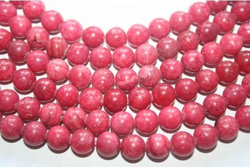 Rhodochrosite Round Beads 10mm - 3pcs