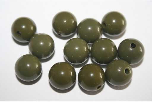 Perline Acrilico Verde Scuro Sfera 12mm - 30pz