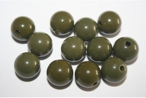 Perline Acrilico Verde Scuro Sfera 12mm - 30pz