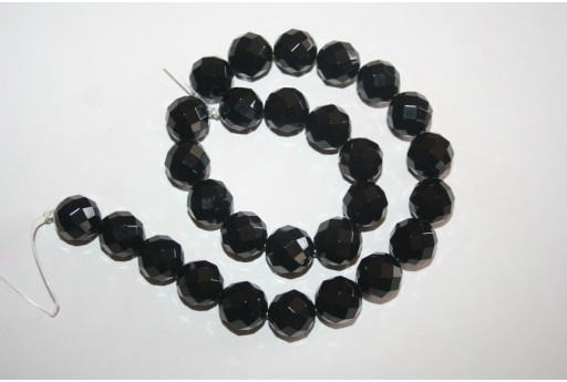 Black Onyx Round Faceted Beads 14mm - 2pcs