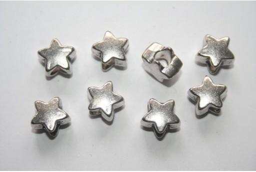 Tibetan Silver Star Beads 12x12mm Hole 5mm - 4pcs