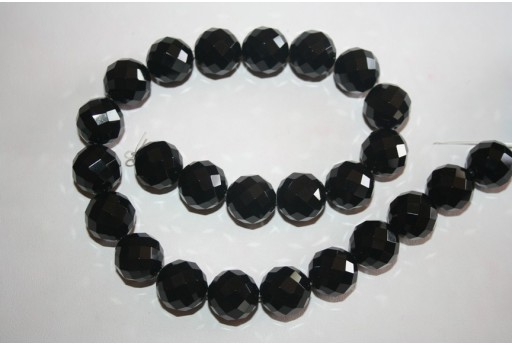 Black Onyx Round Faceted Beads 16mm - 2pcs