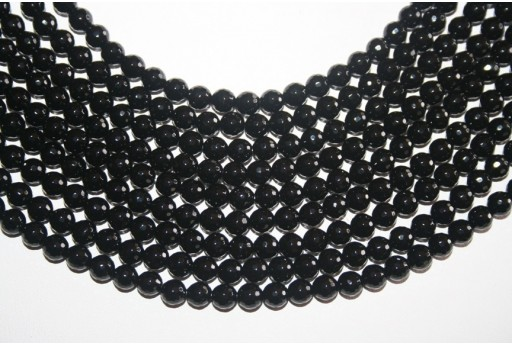 Black Onix Faceted Round Beads 128 Faces 6mm - 7pcs