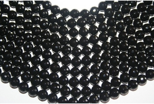 Black Onix Faceted Round Bead Strand 128 Faces 8mm - 48pcs