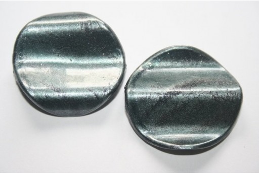 Acrylic Beads Grey Corrugated Pastille 35mm - 6Pz