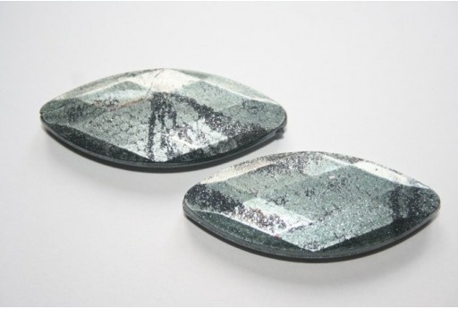 Acrylic Beads Grey Faceted Oval 45x19mm - 8Pz