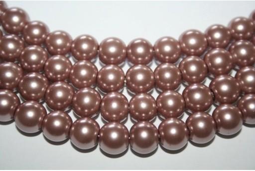 Perline Vetro Marrone Chiaro Sfera 10mm - Filo 44pz