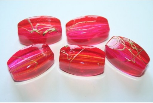 Acrylic Beads Red/Fuchsia Oval 4 Faces 24x13mm - 10pz