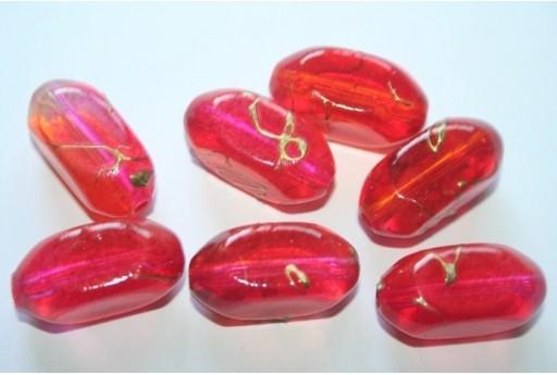 Perline Acrilico Rosso/Fuchsia Ovale 4 Facce 24x11mm - 12pz