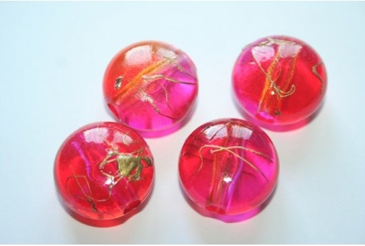 Acrylic Beads Red/Fuchsia Convex Round 22x13mm - 8Pz