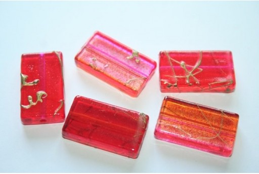 Acrylic Beads Red/Fuchsia Rectangle 25x14mm - 12pz