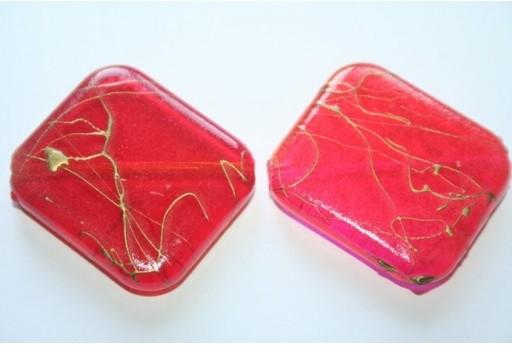 Acrylic Beads Red/Fuchsia Oblique Rectangle 39x30mm - 4Pz