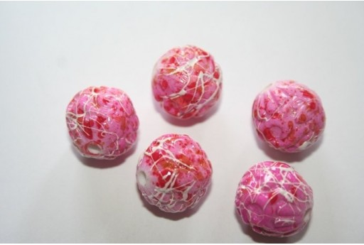 Acrylic Beads Fuchsia Inlaid Sphere 16mm - 8Pz
