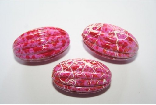 Acrylic Beads Fuchsia Inlaid Olive 29x17mm - 6Pz