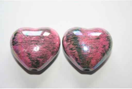 Perline Acrilico Rosa Cuore 25X28mm - 4Pz