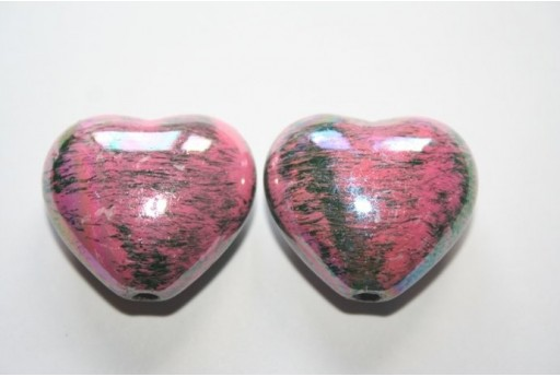 Acrylic Beads Pink Heart 25X28mm - 4Pz