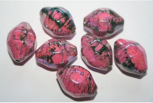 Acrylic Beads Pink Faceted Oval 22X16mm - 10pz