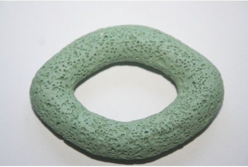 Pendant Lava Rock Aqua Green Oval 59x44mm - 1pz
