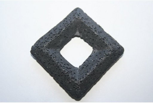 Pendant Lava Rock Black Rhomb 63x63mm - 1pz