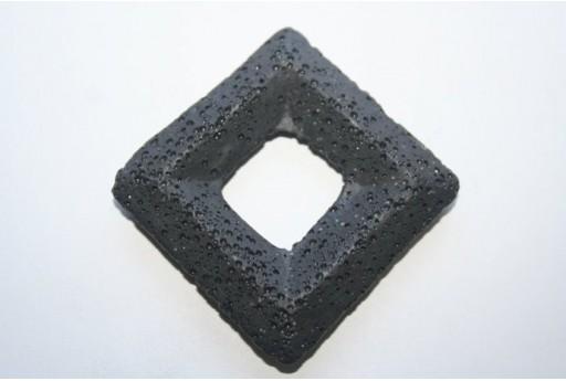 Pendente Lava Nera Rombo 63x63mm - 1pz