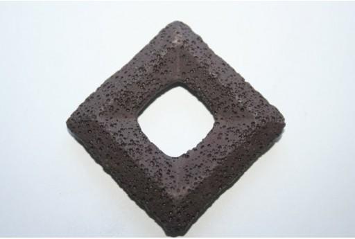 Pendant Lava Rock Brown Rhomb 63x63mm - 1pz