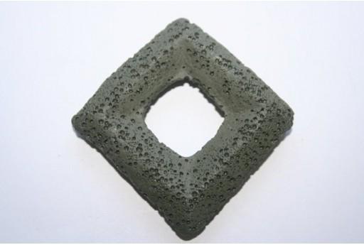 Pendant Lava Rock Dark Green Rhomb 63x63mm - 1pz