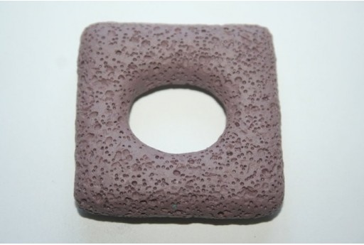 Pendant Lava Rock Violet Rectangle 45x47mm - 1pz
