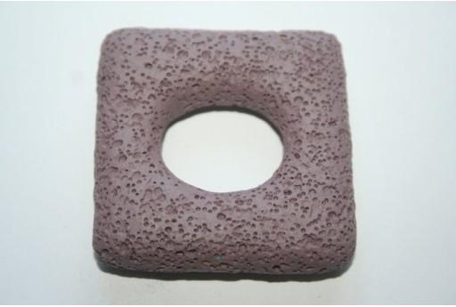 Pendant Lava Rock Violet Rectangle 45x47mm - 1pz