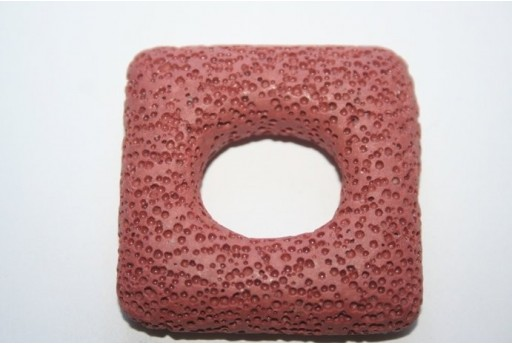 Pendant Lava Rock Brick Red Rectangle 45x47mm - 1pz