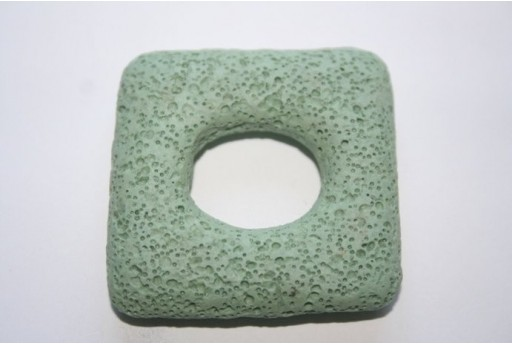 Pendant Lava Rock Aqua Green Rectangle 45x47mm - 1pz