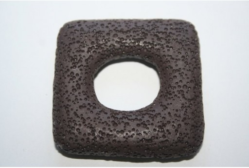 Pendant Lava Rock Brown Rectangle 45x47mm - 1pz