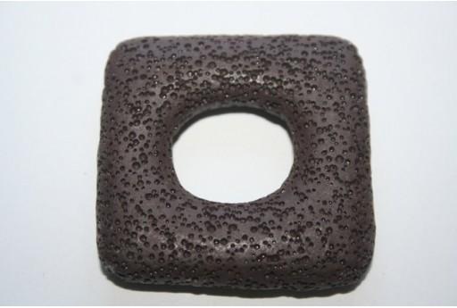Pendant Lava Rock Brown Rectangle 45x47mm - 1pz