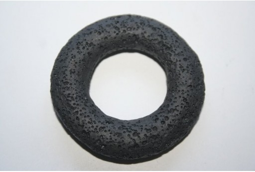 Pendant Lava Rock Black Circle 52mm - 1pz