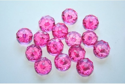 Acrylic Beads Transparent Fuchsia Faceted Rondelle 7x12mm - 30pz