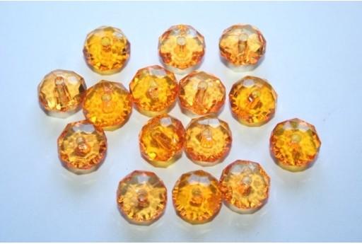 Perline Acrilico Trasparente Arancio Rondelle Sfaccettate 7x12mm - 30pz