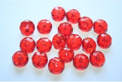 Acrylic Beads Transparent Red Faceted Rondelle 7x12mm - 30pz
