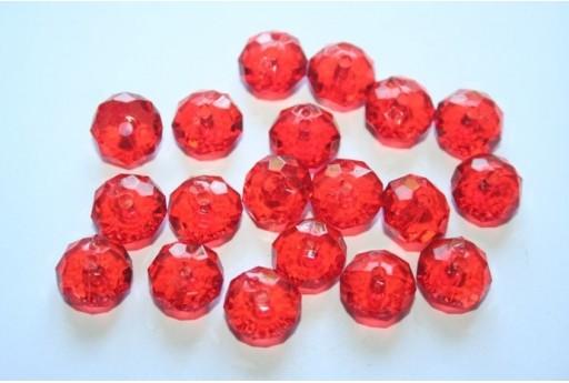 Perline Acrilico Trasparente Rosso Rondelle Sfaccettate 7x12mm - 30pz