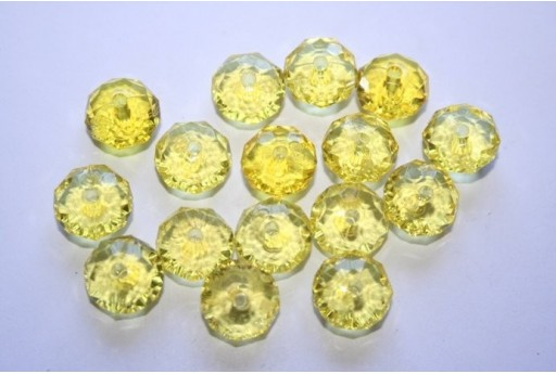 Acrylic Beads Transparent Yellow Faceted Rondelle 7x12mm - 30pz